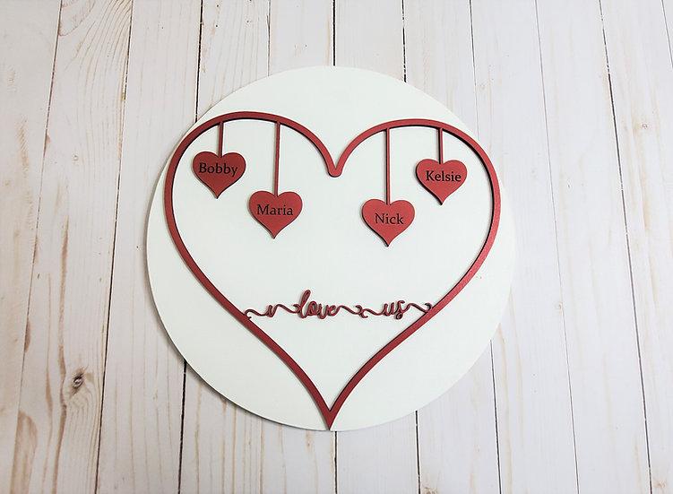 Custom I Love Us Heart on Round Sign