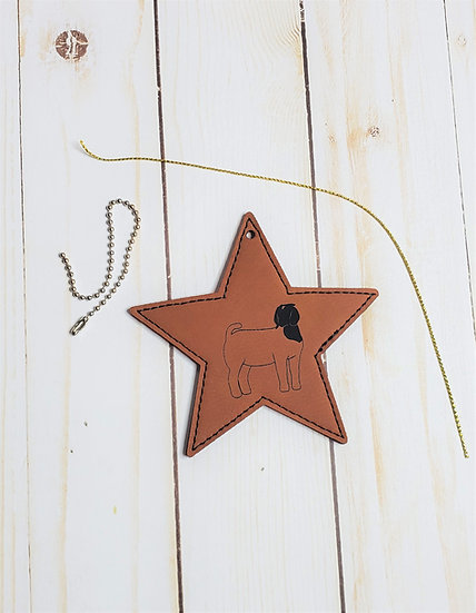 Livestock Species Faux Leather Star Ornament