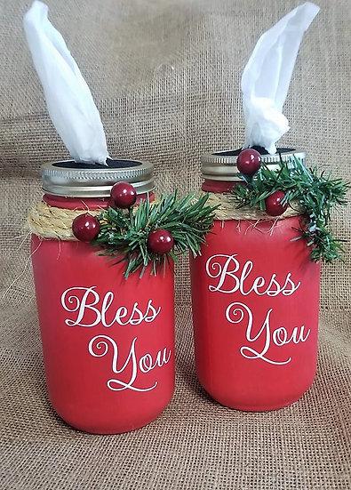 Christmas Bless You Mason Jar