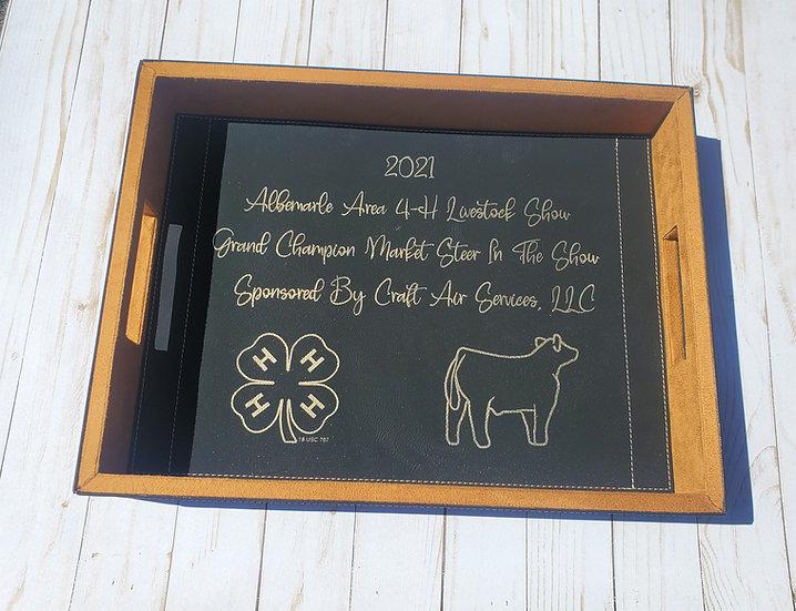 Faux Leather Livestock Award & Decor Tray