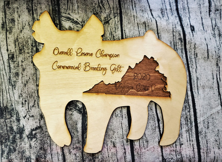 Pig Shaped Layered Wood Award with State Cut Out