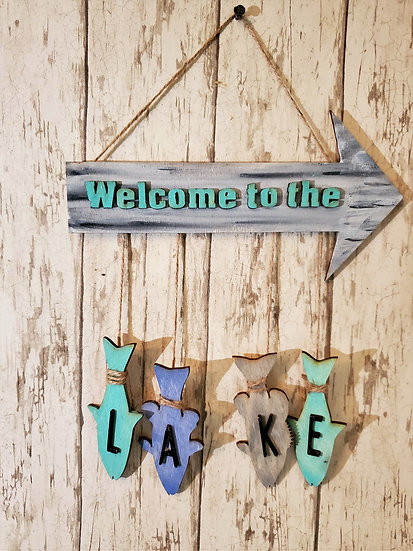Rustic Welcome to the Lake Sign