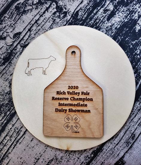 Natural Wood Ear Tag on Round Livestock Award