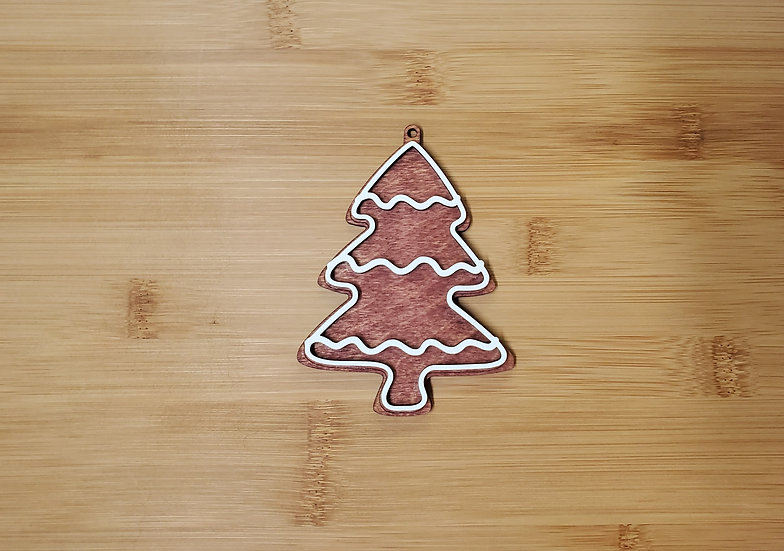 Christmas Tree Gingerbread Style Wooden Ornament