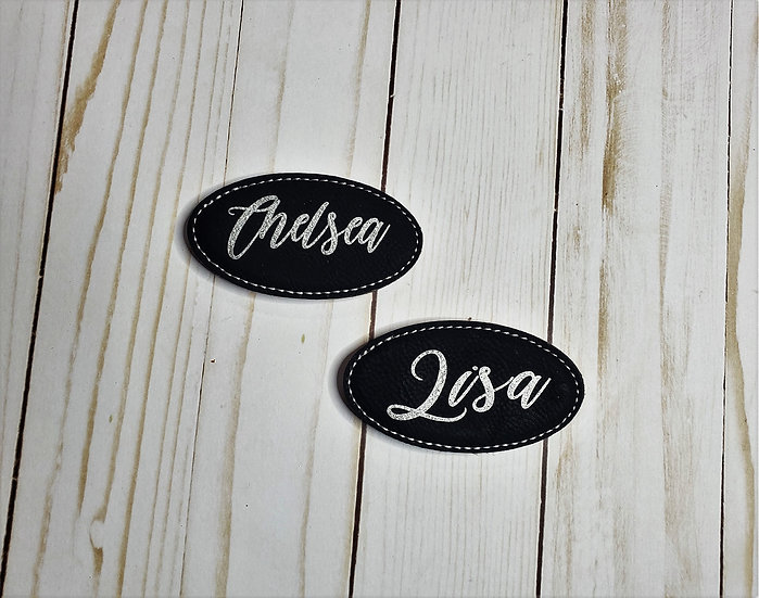 Faux Leather Oval Custom Name Tag Magnet