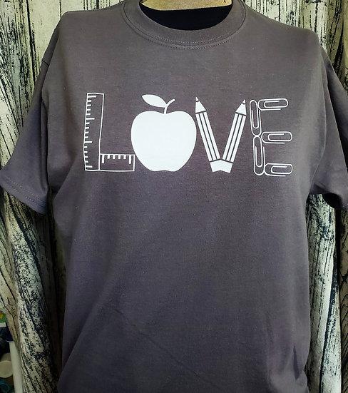 Love Teaching Ruler Apple Pencil T-shirt