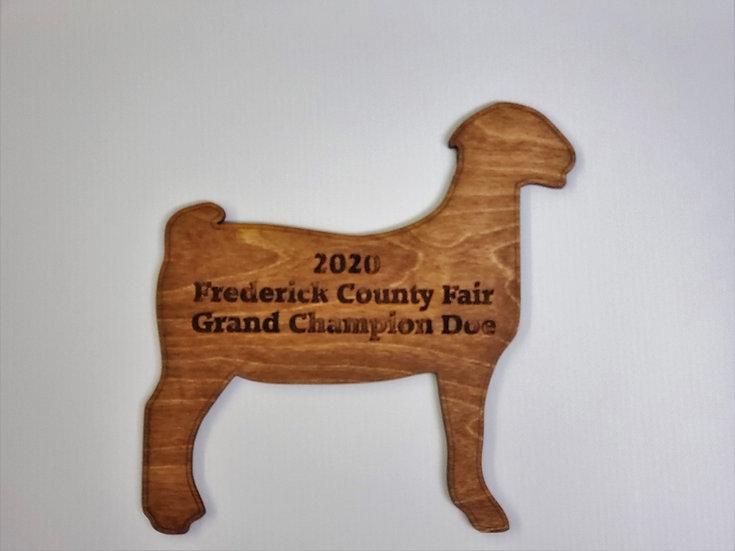 Wooden Doe / Goat Cut Out Award