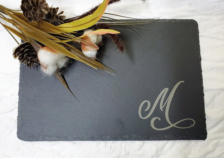 Slate Charcuterie Cheese and Meat Board Engraved Monogram