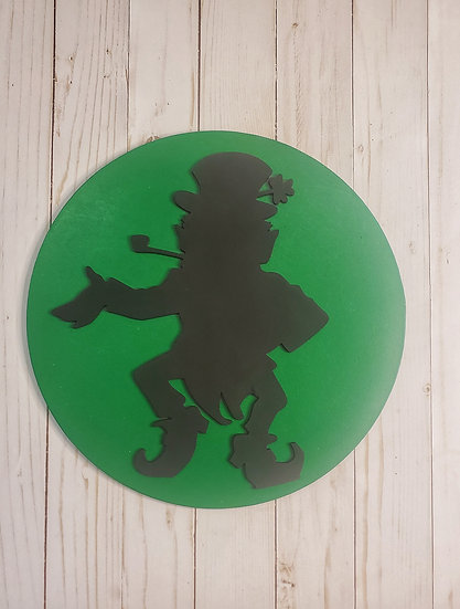 Dancing Leprechaun with Pipe Wood St Patrick's Day Sign