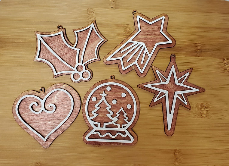 Christmas Icons Gingerbread Wooden Ornaments Set of 5