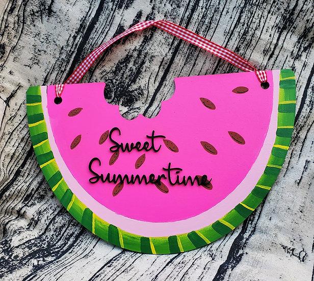 Sweet Summer Time Watermelon Door Hanger