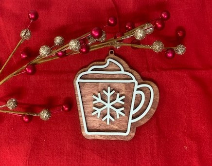 Hot Cocoa Gingerbread Cookie Style Wooden Ornament