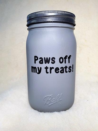 Paws off my treats Dog / Cat Treat Mason Jar