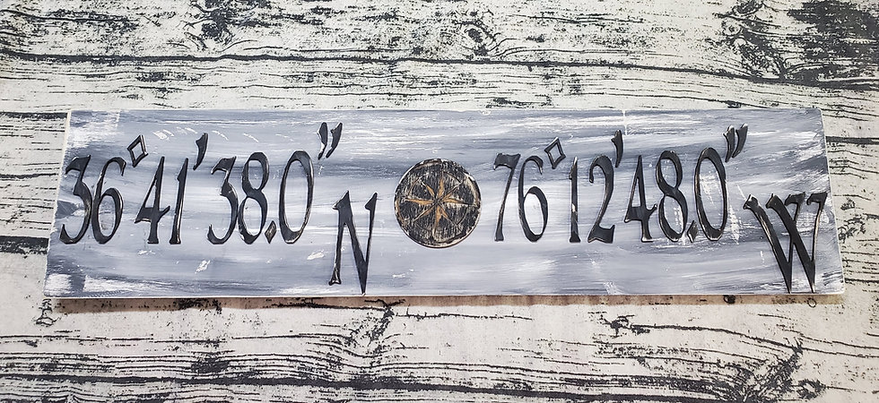 3-D Hand Painted Wood Coordinates Sign