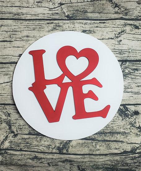 Red & White Love Heart Round Sign / Door Hanger
