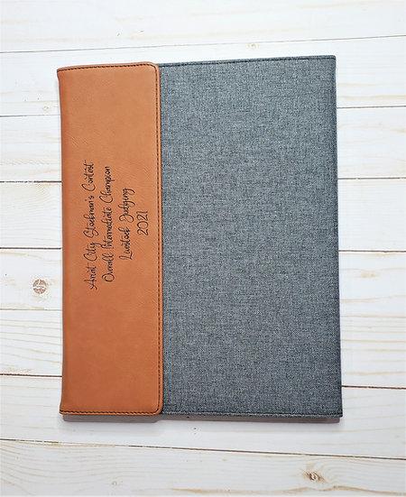 Faux Leather Canvas Padfolio Livestock Award Notebooks