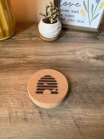 Honey Bee Hive Cork Coaster Set