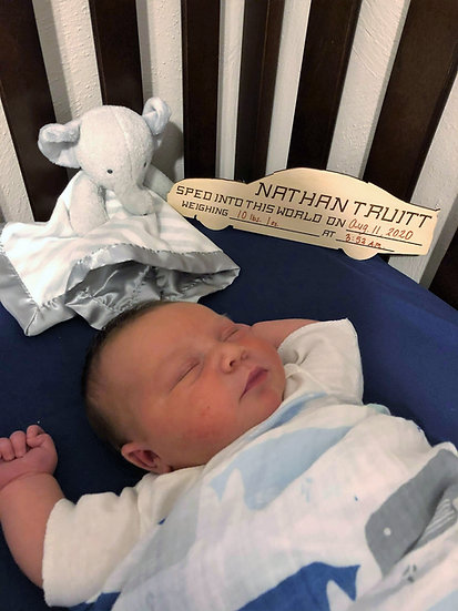 Hospital Birth Announcement Race Car Sign