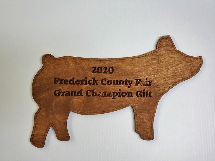 Gilt / Pig / Hog Livestock Award Cut Out