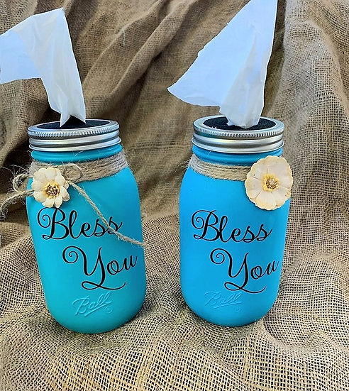 Teal / Light Blue Bless You Tissue Jar