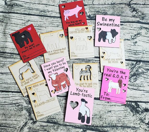Livestock 4 Species Valentine's Day DIY Wooden Cards Sets