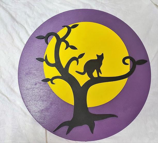 Spooky Black Cat Harvest Moon Halloween Fall Door Hanger Sign