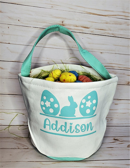 Personalized Easter Bunny & Eggs Canvas Tote