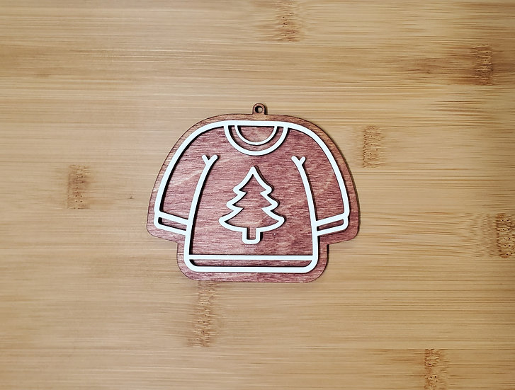 Ugly Christmas Sweater Gingerbread Cookie Style Wooden Ornament