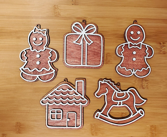 Gingerbread Man and Woman Set of 5 Wooden Ornaments