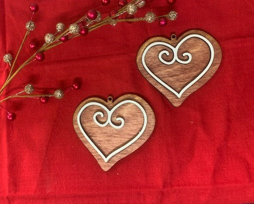Heart of Love Gingerbread Cookie Style Wooden Ornament