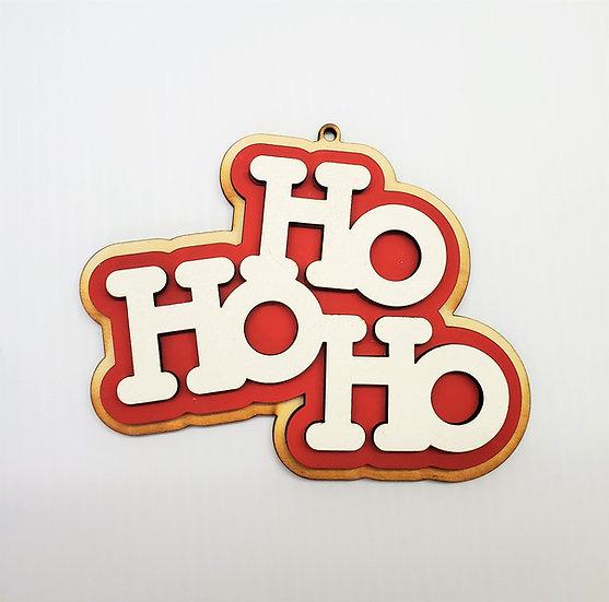 Ho Ho Ho Sugar Cookie Wooden Christmas Ornament