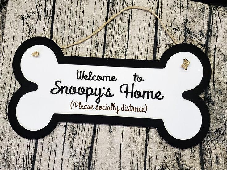 Personalized Dog Bone Welcome Door Hanger Sign