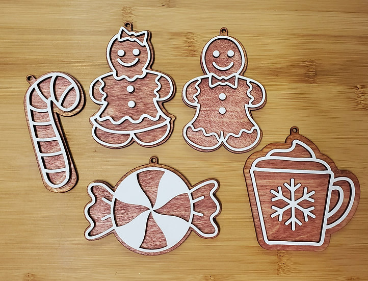 Sweet Christmas Treat Gingerbread Wooden Ornament Set of 5