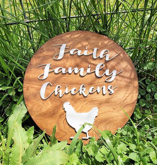Faith Family Chickens Sign