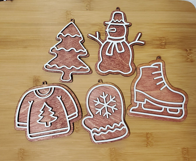 It's Cold Outside Gingerbread Wooden Ornament Set of 5 Collection