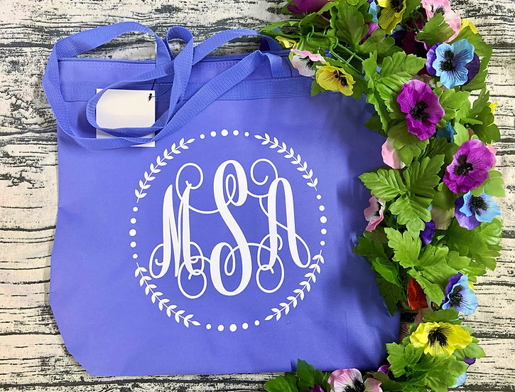 Personalized Large Canvas Tote Zipper Bag