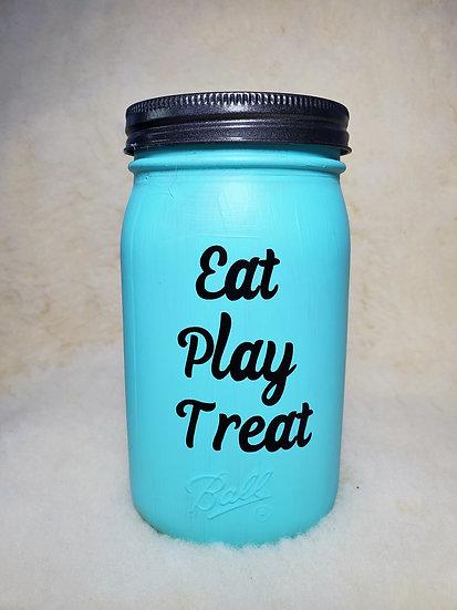 Eat Play Treat Pet Treat Jar Dog / Cat