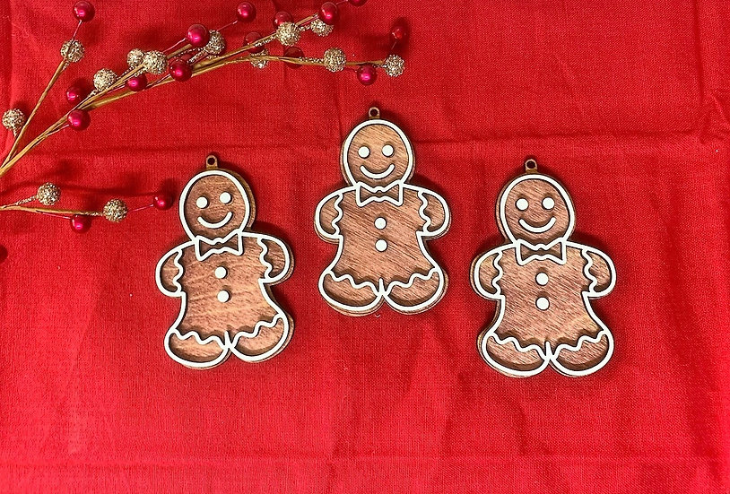 Gingerbread Man Christmas Ornament Iced Wooden