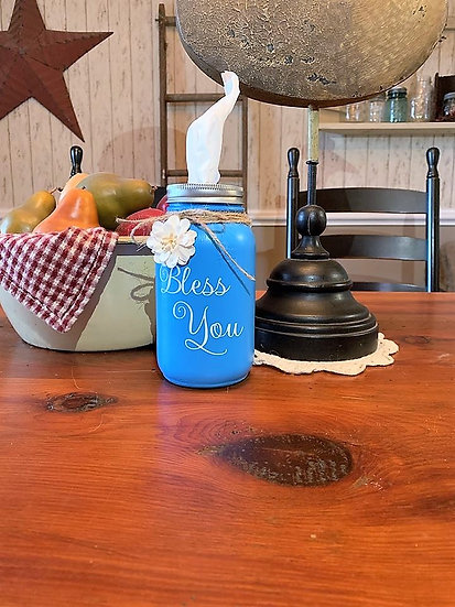 Baby Blue Bless You Tissue Jar
