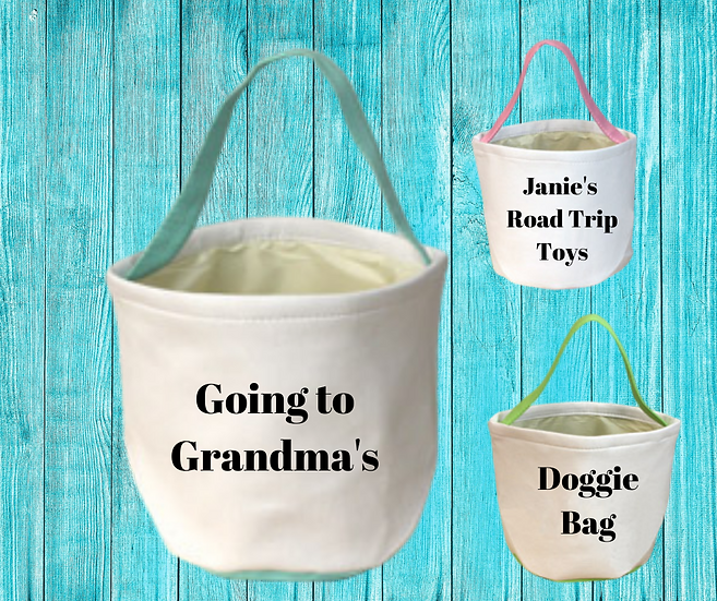 Personalized Canvas Tote / Basket with handle