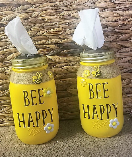 Bee Happy Bless You Tissue Jar