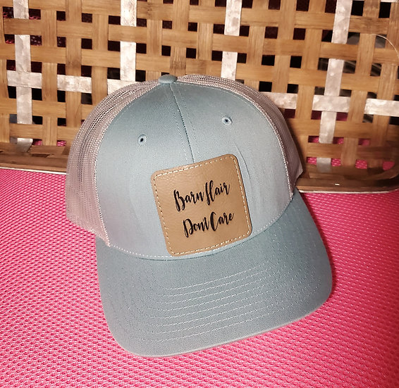 Barn Hair Don't Care Snap Back Trucker Cap Leather Patch