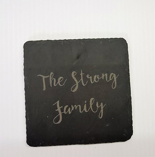 Custom Engraved Slate Coaster Set of 4