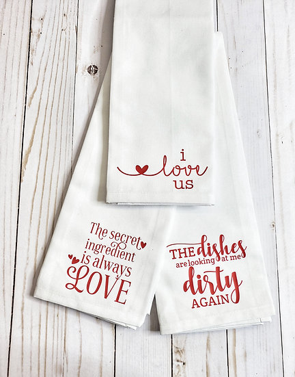 Set of 3 Red / White Flour Sack Tea Dish Towel Love Collection