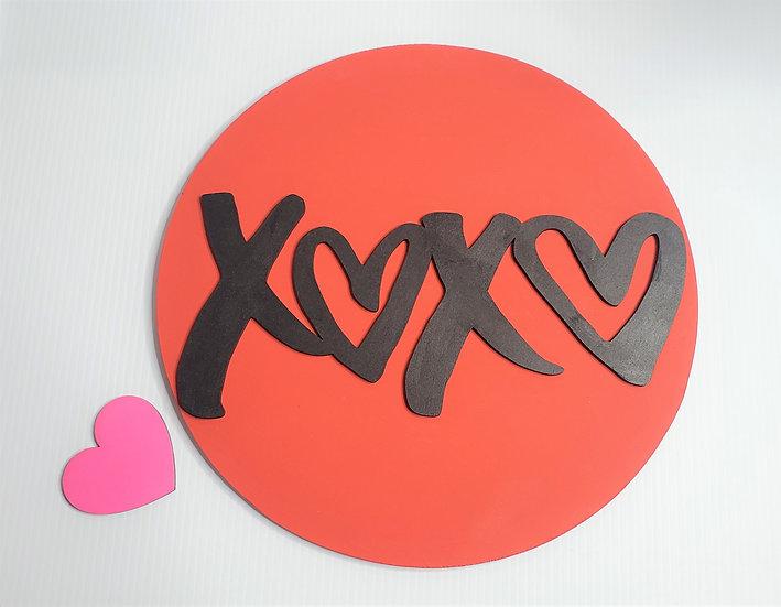 XOXO Valentine Love Hugs & Kisses Round Sign