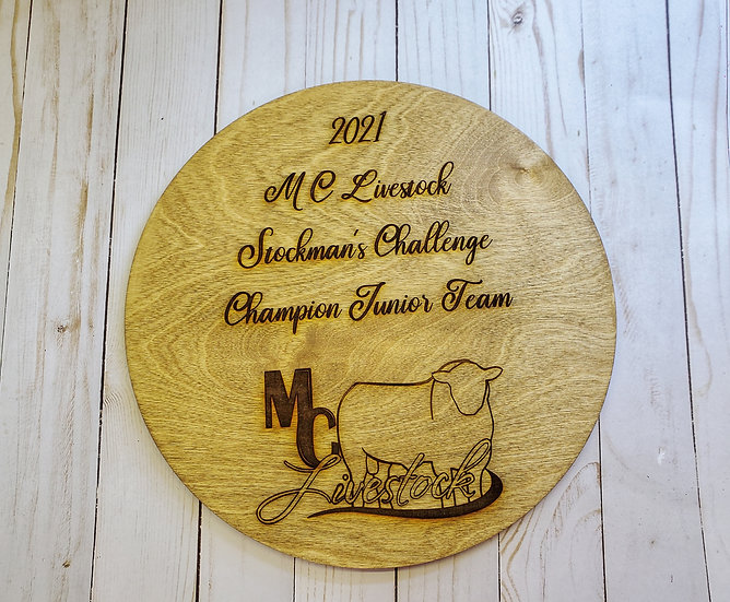 Large Single Layer Engraved Round Livestock Award