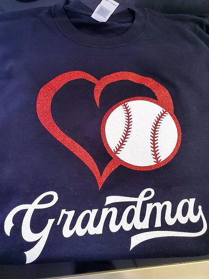 Grandma Baseball Bling T-shirt