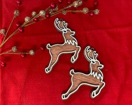 Santa's Reindeer or Rudolf Gingerbread Cookie Wooden Ornament