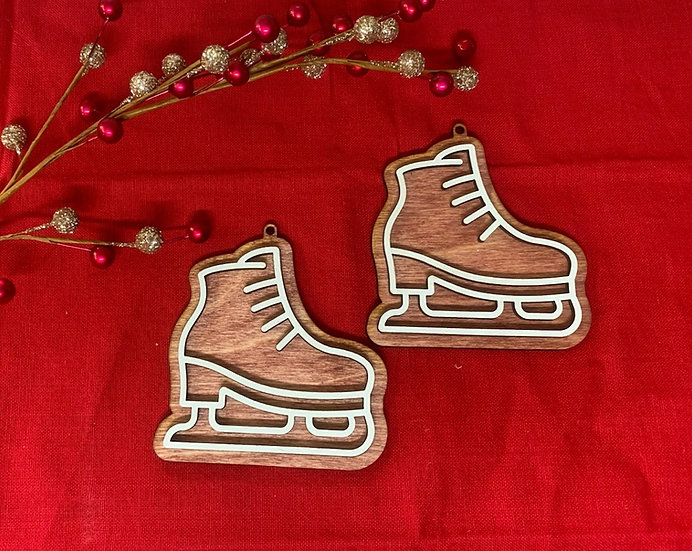 Gingerbread Ice Skate Cookie Wooden Ornament
