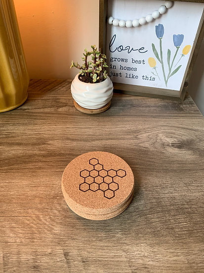 Honeycomb Bee Cork Coaster Set